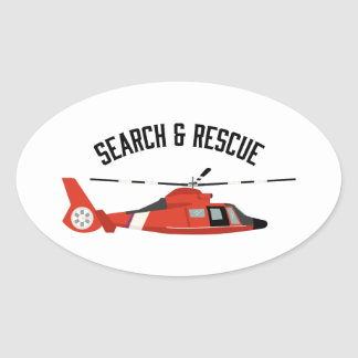 Search & Rescue Helicopter Oval Sticker