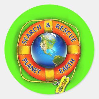 Search & Rescue--Planet Earth! Flag Classic Round Sticker