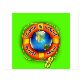 Search & Rescue--Planet Earth! Flag Postcard