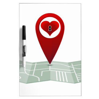 Searching For Love Heart Lock Map Pin Dry-Erase Board