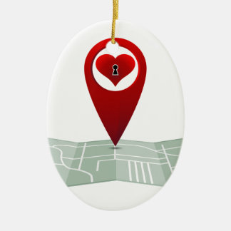 Searching For Love Heart Lock Map Pin Double-Sided Oval Ceramic Christmas Ornament
