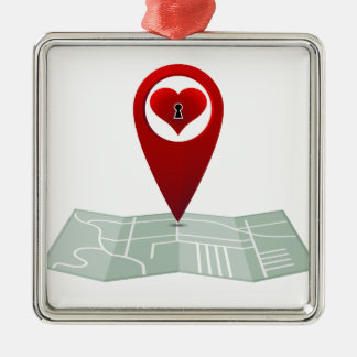 Searching For Love Heart Lock Map Pin Square Metal Christmas Ornament
