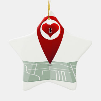 Searching For Love Heart Lock Map Pin Double-Sided Star Ceramic Christmas Ornament