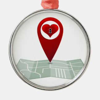 Searching For Love Heart Lock Map Pin Round Metal Christmas Ornament