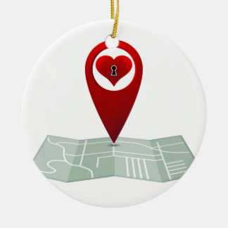 Searching For Love Heart Lock Map Pin Double-Sided Ceramic Round Christmas Ornament