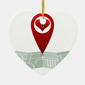 Searching For Love Heart Lock Map Pin Double-Sided Heart Ceramic Christmas Ornament