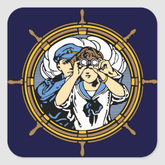 Searching the Ocean Waves Square Sticker