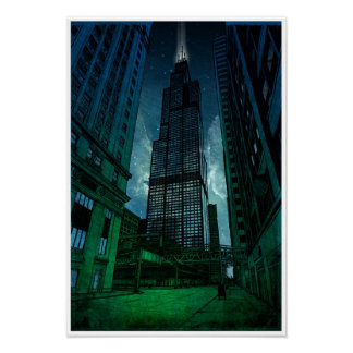 Sears Tower Architectural Drawing Poster