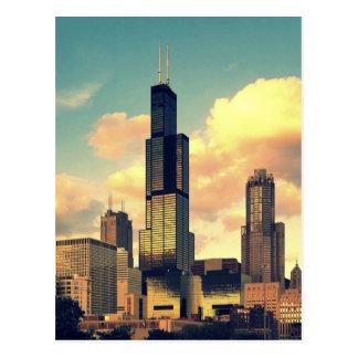 Sears Tower / Willis Tower Postcard - Sunset