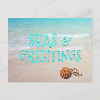 Seas and Greetings Beach Christmas Postcard