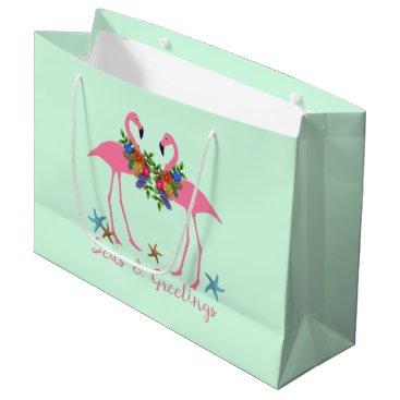 Beach Themed Seas and Greetings Flamingo Couple Christmas Mint Large Gift Bag