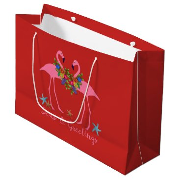 Beach Themed Seas and Greetings Flamingos Large Christmas Bag