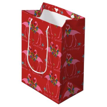 Beach Themed Seas and Greetings Flamingos Red Christmas Bag