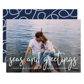 Seas and Greetings | Nautical Holiday Photo Card