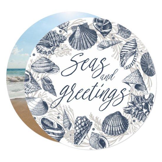 Seas and Greetings | Nautical Seashell Photo Card