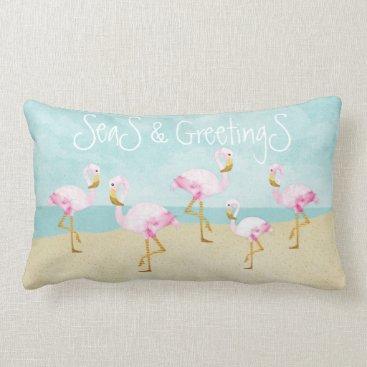 Beach Themed Seas and Greetings Pink Flamingos Lumbar Pillow