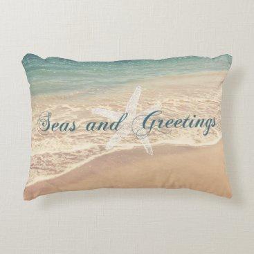 Christmas Themed Seas and Greetings Seasons Greetings Beach Decorative Pillow
