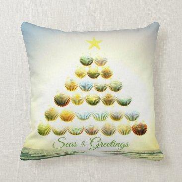 Christmas Themed Seas and Greetings Shell Christmas Tree Pillow