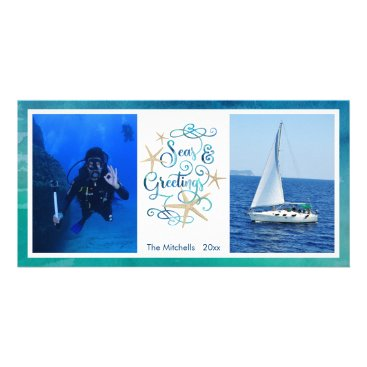 Beach Themed Seas AND Greetings, Turquoise Script & Starfish Card