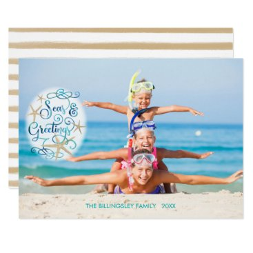 Beach Themed Seas AND Greetings, Turquoise Script, Starfish Card