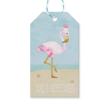 Beach Themed Seas and Greetings Watercolor Pink Flamingo Gift Tags