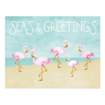 Beach Themed Seas and Greetings Watercolor Pink Flamingos Postcard