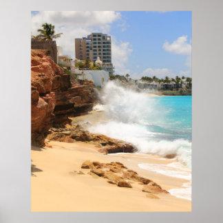 Seas break at Cupecoy Beach Cliffs, St. Maarten Poster