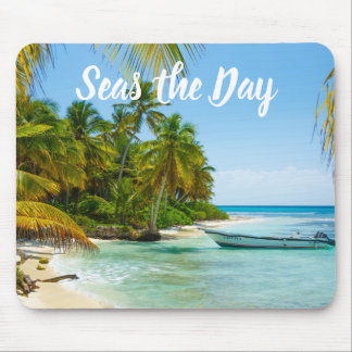 """""""Seas the Day"""" Beach Boat Mouse Pad"""
