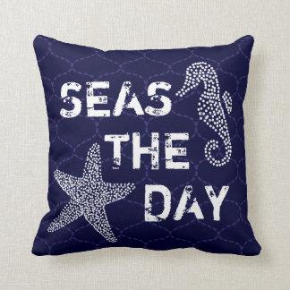Seas The Day Beach Ocean Theme Pillow