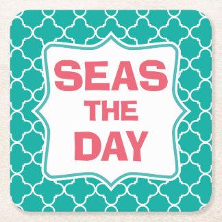 Seas the Day Funny Quote Square Paper Coaster
