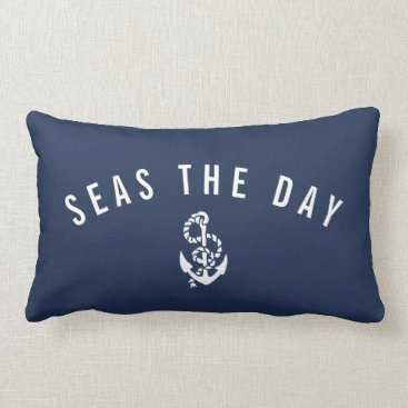 Beach Themed Seas the Day Lumbar Pillow
