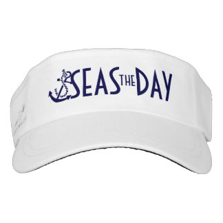 Seas The Day Navy Blue Nautical Boat Anchor Visor