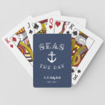 """Seas the Day   Personalized Boat Playing Cards<br><div class=""""desc"""">Ahoy! Set sail with our punny nautical playing cards featuring &quot;seas the day&quot; in white lettering curving around a ship&#39;s anchor illustration. Personalize with your boat name and year established along the bottom.</div>"""