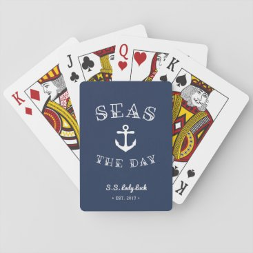 RedwoodAndVine Seas the Day | Personalized Boat Playing Cards