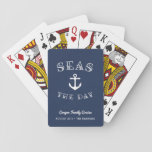 """Seas the Day   Personalized Family Vacation Playing Cards<br><div class=""""desc"""">Ahoy! Set sail with our punny nautical playing cards featuring &quot;seas the day&quot; in white lettering curving around a ship&#39;s anchor illustration. Personalize with your family name and/or event type,  and the date and destination beneath,  to create a unique souvenir for family vacations,  trips or cruises.</div>"""