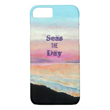 Beach Themed Seas The Day Quote Soft Pinks and Blues Sunset iPhone 8/7 Case