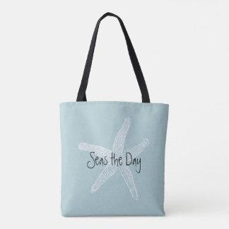Seas the Day Vintage Starfish Illustration Blue Tote Bag