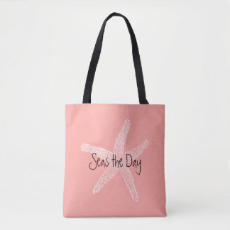 Seas the Day Vintage Starfish Illustration Coral Tote Bag
