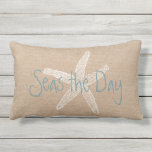 "Seas the Day Vintage Starfish on Canvas Look Lumbar Pillow<br><div class=""desc"">Seize the Day at the beach with this Outdoor Seas the Day Vintage Starfish Illustration in White on Beach House Canvas Look.  Personalize this design by changing the text,  text color,  text style.</div>"