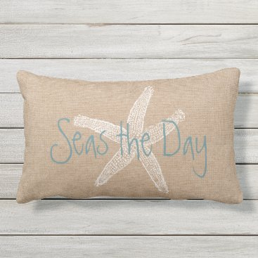 AnyTownArt Seas the Day Vintage Starfish on Canvas Look Lumbar Pillow