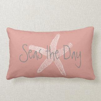 Seas the Day Vintage Starfish on Coral Lumbar Pillow