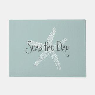 Seas the Day Vintage Starfish on Sea Foam Blue Doormat