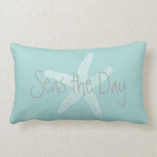Seas the Day Vintage Starfish Sea Glass Blue Lumbar Pillow