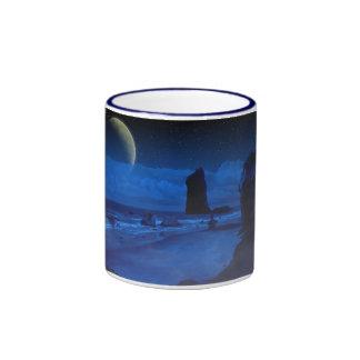 Seascape and Moon Ringer Coffee Mug