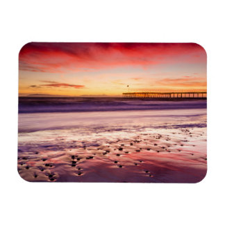 Seascape and pier at sunset, CA Magnet