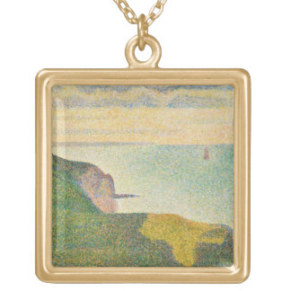 Seascape at Port-en-Bessin, Normandy, 1888 Personalized Necklace