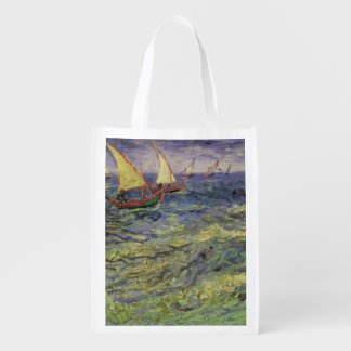 Seascape at Saintes-Maries  1888 Grocery Bags