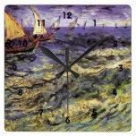 Seascape at Saintes-Maries by Vincent van Gogh Square Wallclock