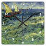 Seascape at Saintes Maries by Vincent van Gogh Square Wall Clocks