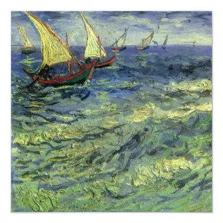 Seascape at Saintes Maries by Vincent van Gogh 5.25x5.25 Square Paper Invitation Card